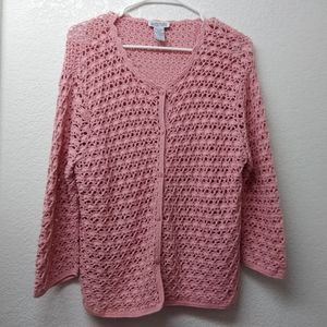 Northern Reflections Pink Crochet Cardigan Size L